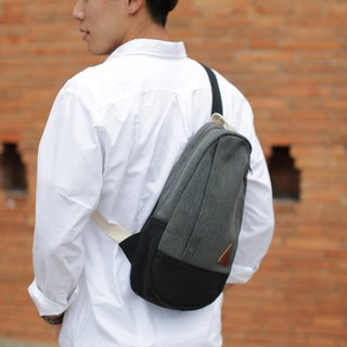 JUN Black Rustic Canvas Mini Shoulder Bag backpack canvas shoulder bag in black.