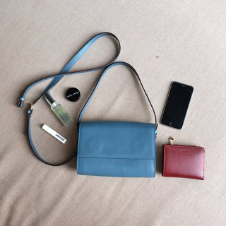 SUBMARINE V.2 - MINIMAL LEATHER SHOULDER BAG/CLUTCH/HANDBAG - TEAL (BLUE GREY)