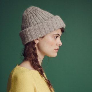 Mohair Ribbed Fisherman s Beanie in Soft Grey