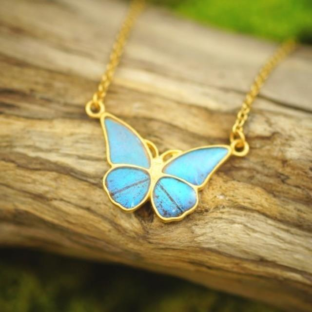 Morpho butterfly small antique pendant straight