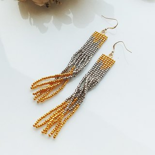 Gold-Silver - Long Beaded Tassel Earrings