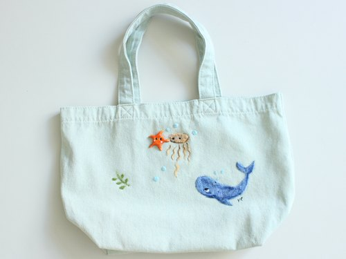 《Free Shipping》Whale wool felt embroidery canvas tote bag, Whale green tote bag, handmade - Wearable art