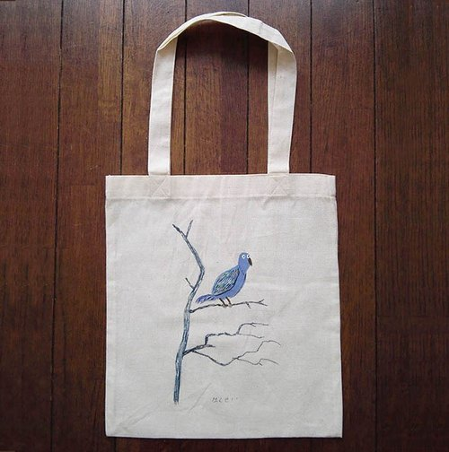 Hand-painted one point cotton bag bird illustrations