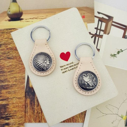 [Gift] custom leather keychain key ring couple creative handmade leather accessories Hawk, Indian