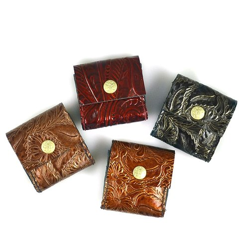 (U6.JP6 handmade leather) hand-made hand sewn PU embossed leather purse Universal