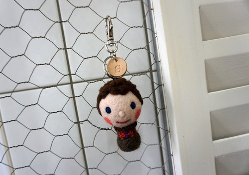 Sheep wool felt Tian · · Dear Friends Series bff keychain (curly hair suspenders boys)