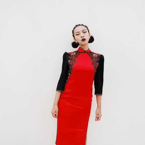 Antique embroidered cheongsam
