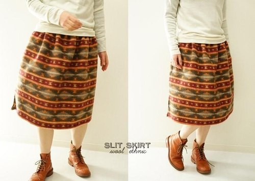 Warm waist skirt with belt loops, hem slit pocket sk4-35