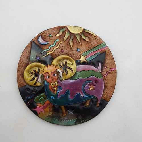 Hand-made leather coaster constellation - Aries