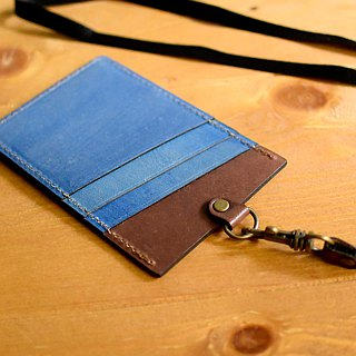 YOURS Straight Document Holder (with Necklace) Deep Wood Leather + Logs