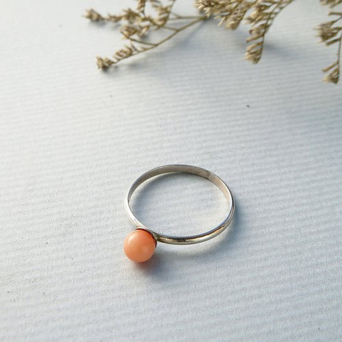 Small fresh series / small coral bead ring / 925 sterling silver