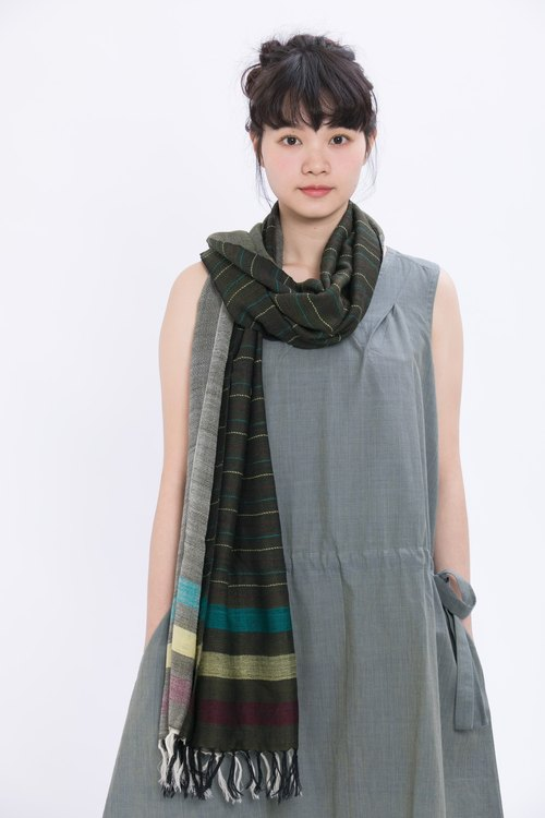 Spring chatter wool scarf _ mountain green ladder _ fair trade