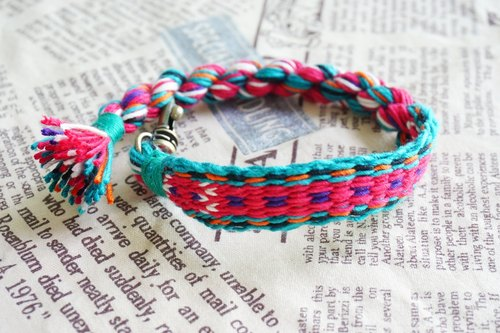 Hand-woven ribbon (bracelet, pendant, keychain decoration)