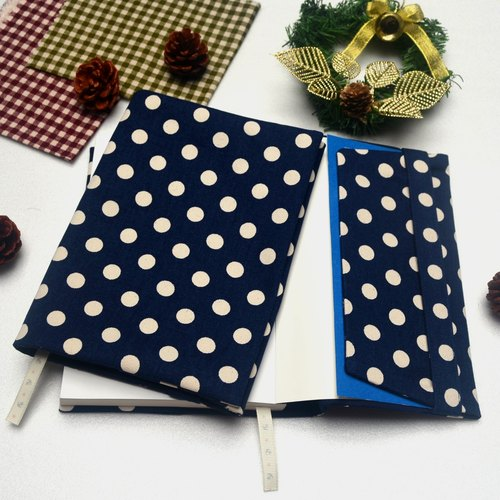 Button spot - blue book cover with bookmark handmade canvas
