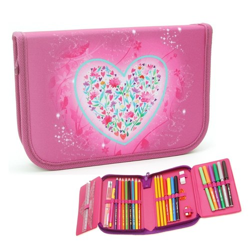 Tiger Family British creative stationery pencil bags - Pink Sweet Heart