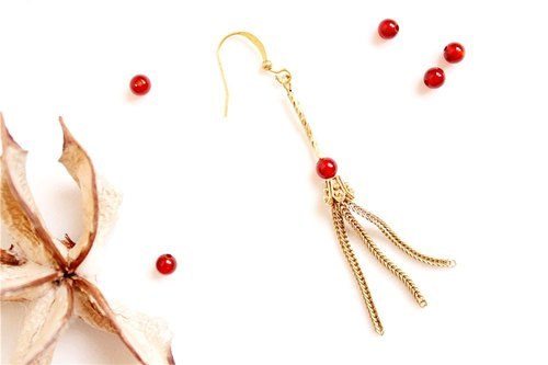 [UNA- excellent Na] handmade tassels wave onyx - Copper earhook brass customization natural stones