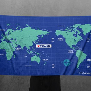 Make World map to make sports bath towels (blue)