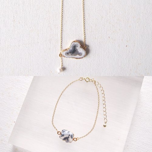 [ Little Cloud ] Dendritic Agate Necklace and Bracelet Set | Silver with 18K Yellow Gold Plated