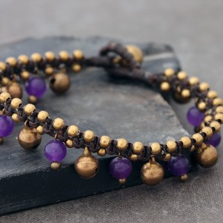 Amethyst Dangle Bracelets Stone Woven Drop Down Jingling
