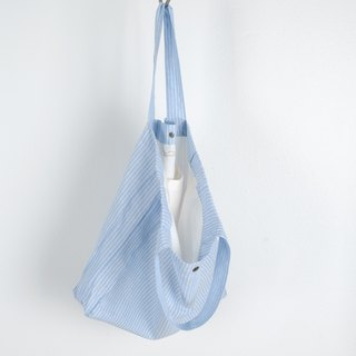 Casual Linen Tote Bag (Blue Striped)