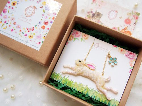 Gift / Hand drawing cute little rabbit necklace short