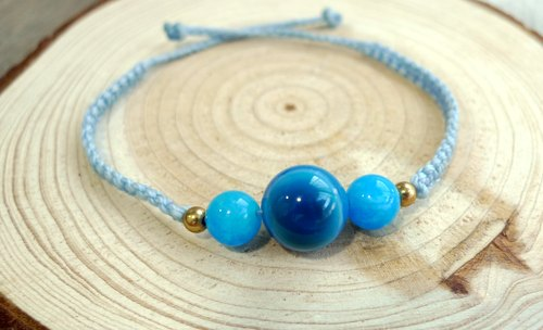 Misssheep- [H12] South American wax braided light blue line brass beads blue agate blue chalcedony bracelet