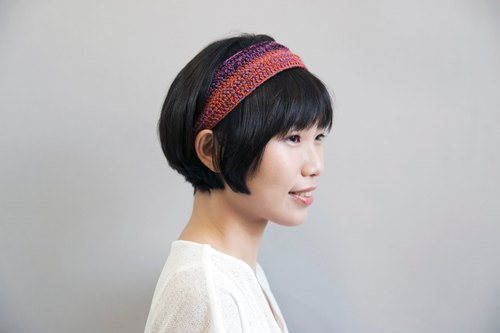 Crochet Headband-purple/crimson