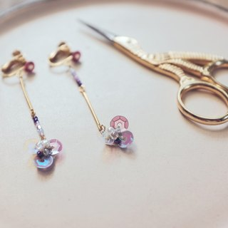 After the park KoraKuen [hanging embroidery series] 03 purple elegant flower earrings