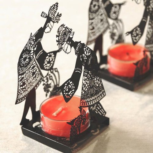 Shadow play candle holder - black