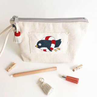 swimming penguin - pencil pouch / hand paint