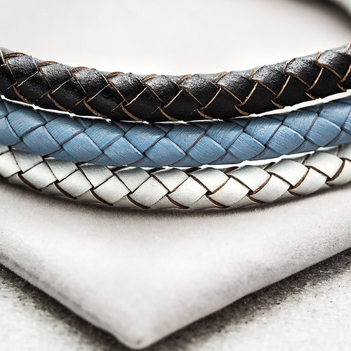 Stainless Steel braided leather cord bracelet Solo Stainless Steel Weave Leather Bracelet