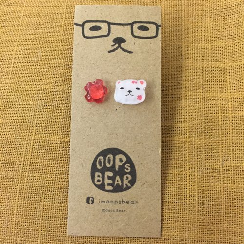 Oops bear - White Bear with sakura earring