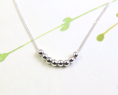 Simple-design Silver Necklace / Beads Silver Necklace / Sterling Silver Necklace