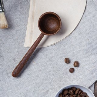 Clean up. Hand made wooden coffee bean spoon long handle - walnut
