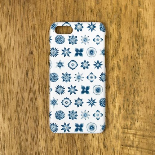 "One dark blue one. Smartphone case ""Dark blue flower pattern"" SC-190"