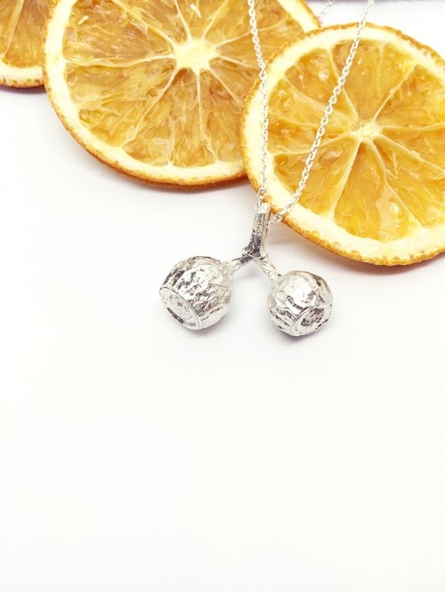 :: Sussurro hand. :: Summer の decorated real Necklace - 925 Silver / Amber fruit / limited edition