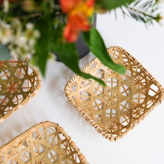 Handmade Bamboo Shutter (S) | Hexagonal Hole Chrysanthemum | Color