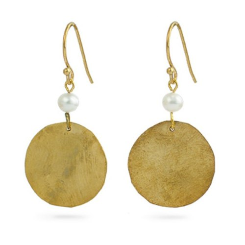 Gold-plated copper pearl earrings