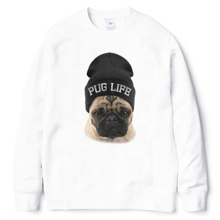 PUG LIFE [spot] University T neutral bristle white pug dog fighter dog animal American cotton