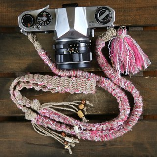 Hand-spun knitted hemp string camera strap pink / double ring