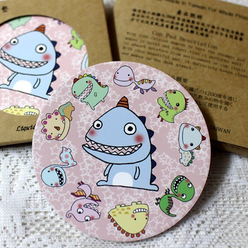 Play not tired _ _ ceramic water coaster (a small dinosaur family)