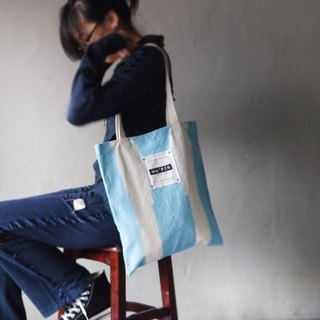 Sky blue straight dyed - Canvas hand dyed Tote bag back