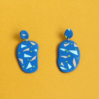 Hsin Hsiu Yao Geometric Earrings - Blue Small Triangle Geometry Large Ellipse with Small Ellipse