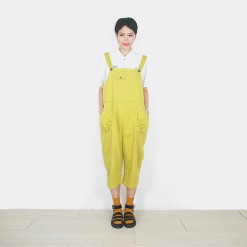 Mustard yellow tape khaki pants coveralls AO9001