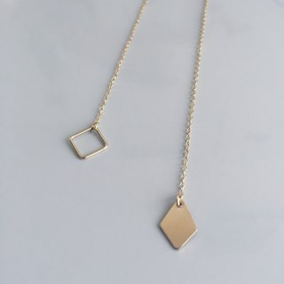 resolution / two way claspless necklace with square charms