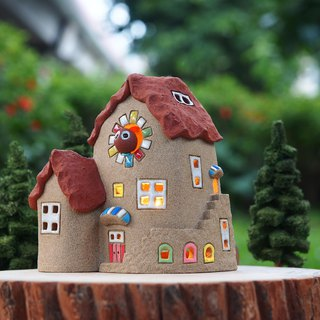 【Lighted House】 Tatar hand made - lovely home / Ceramic Lighted House (excluding wood accessories and handmade trees, owls)