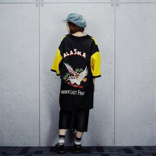 Tsubasa.Y ancient house border hawk (yellow) bowling shirt system, bowling shirt