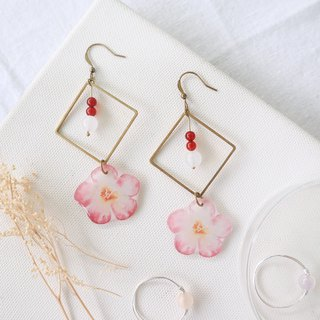 Flower collection book handmade earrings - dream red agate white jade can be changed