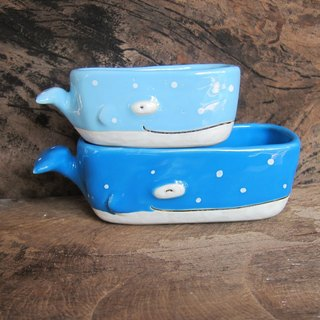 Little whale ceramic Plant Pots, Set of two