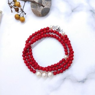 [108 Rosary Series] Red Glass* Natural Pearl Rosary Multi-Circle Bracelet / New Year Gifts